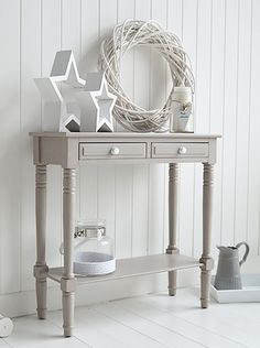 Oxford Grey Small Console Table Storage Living Hall And Bedroom Furniture