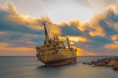 A lonely ship on the coast of Paphos, Cyprus    Loucas Parikos of Reading, Berkshire