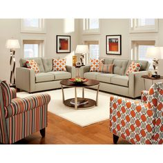 This sofa and loveseat set are the perfect pairing to upgrade your living room with comfort and style. With several colorful throw pillows, you and your guests will enjoy the inviting atmosphere they will create in your home.