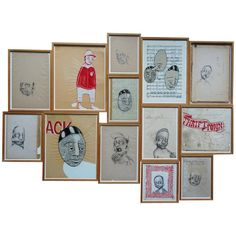 Barry Mcgee, Untitled Installation of 13 Drawings, Ink and Gouache, 1997
