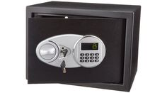 Electronic lock with 2 live-door bolts and pry-resistant hinges. In addition to the electronic lock, the security safe features two live-door bolts, a pry-resistant steel door, and pry-resistant concealed hinges.