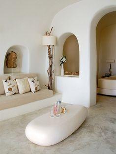 iconic-white-washed-hotel-living-room  Santorini