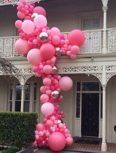Balloon Garlands make an entrance! Balloon Backdrop, Balloon Columns, Balloon Garland, Balloon Arrangements, Balloon Centerpieces, Balloon Decorations, Blowing Up Balloons, Helium Balloons, Balloons Galore