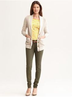 Women's Apparel: outfits we love | Banana Republic - love the tops, but would wear with regular or bootleg slacks.  Looks totally like a teacher outfit!
