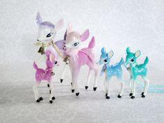 1950s Reindeer Bambi Fawn Family - Painted Hong Kong Plastic Christmas Bambi Deer Figurines set of Five by SwirlingOrange11 on Etsy https://www.etsy.com/listing/211146416/1950s-reindeer-bambi-fawn-family-painted
