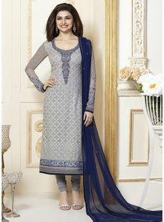 Breathtaking Grey Chicken Work Prachi Desai Faux Georgette Straight Cut Suit-3308
