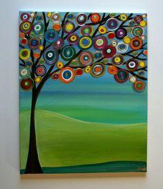 Artículos similares a Niños arte abstracto acrílico, pintura sobre lienzo de 20Lx16W hermoso colores y la textura de la pared en Etsy