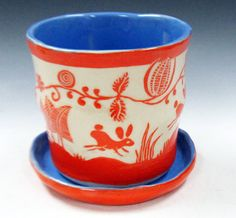 Hand Built FLOWER POT Planter with Leaping BUNNIES Rabbits & Saucer Porcelain Sgraffito
