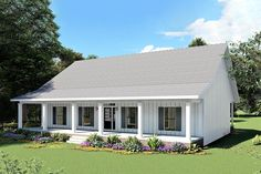 Small Farmhouse Plans, Country Farmhouse, Future House, My House, House Front, Porch Plans, Open Space Living, Barn House Plans, Gabel