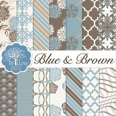 Blue and Brown Digital Scrapbook Paper kit. Set Includes 14 designs on 12x12 300 DPI Digital Papers.