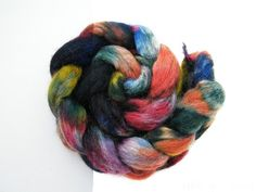 Shetland & Kid Mohair, Hand Dyed Wool Roving (tops), Spinning Fiber, Sludgy Rainbow- 100g 2159