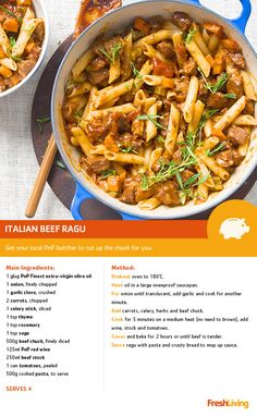 Eating on a budget never tasted this good! Feed the family for less than with this slow-cooked, melth-in-your-mouth beef ragu. Beef Steak Recipes, Meat Recipes, Slow Cooker Recipes, Cooking Recipes, Beef Dishes, Pasta Dishes, Eat On A Budget, Cut Recipe, South African Recipes
