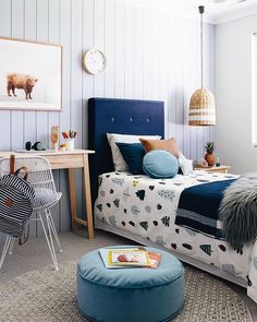 The boy's room • • • • the colour continues into this fun little room at the new @homebuyerswa 'Forrester' Display home. I love how all the blue tones work so well together Wallpaper - @luxewalls , Art - @elementalprints (more fab stores tagged) xx