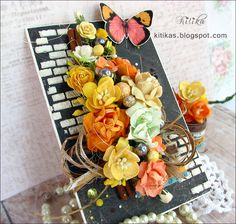 Kitika: Tangerine Juice- Мандариновый Сок: открытки с душой: Оранжевое настроение: объемная открытка с бабочками и цветами