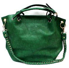 Τσάντα πουγκί από οικολογικό δέρμα σε πράσινη απόχρωση.Κλείνει με φερμουάρ και έχει έξτρα μακρύ χερούλι το οποίο σχηματίζει πλεξούδα από το δέρμα και χρυσή αλυσίδα για να φοριέται και κρεμαστά.Στο εσωτερικό περιλαμβάνει μικρό τσαντάκι τύπου clutch που μπορείτε να κρατήσετε ξεχωριστά.  Βάθος27cm, Πλάτος35cm $42.00 Green, Bags, Vintage, Fashion, Purses, Moda, Fashion Styles, Taschen, Fasion