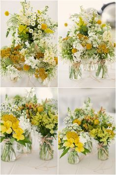 Locally grown flowers in mason jars. So simple and sweet!   Green Bride Guide