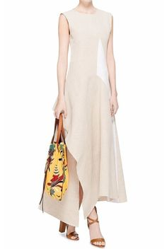 Marni Cotton Linen Canvas Sleeveless Asymmetrical Dress