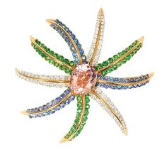 An extraordinary precious stone brooch 'Fireworks' by Tiffany