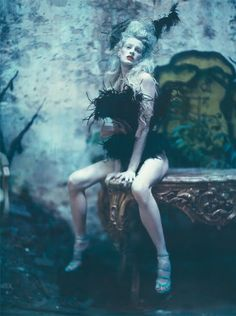 The grand couture by Paolo Roversi . September 2010 Vogue Unique cover, with the supermodel Kristen McMenamy.