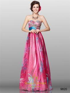 Floral Sweetheart Neckline Dress,Floral Dress For Girls,Hot Pink Floral Dress