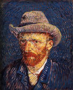 Vincent van Gogh - Self-portrait with hair felt, 1887-1888