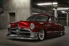 Sweet 1950 Ford Street Rod Great Candt Apple Red paint job. www.batsbirdsyard.com