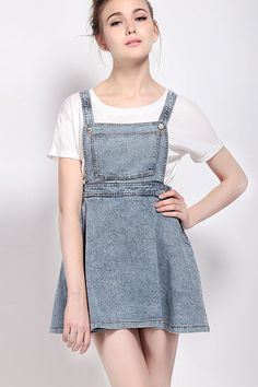 Light+Blue+Acid+Wash+Distressed+Denim+Overall+Dress+#Light+#Dress+#maykool