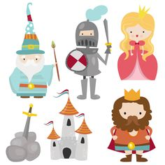 Little Camelot Digital Clip Art Clipart Set por CollectiveCreation Art Clipart, Fairy Tale Theme, Fairy Tales, Doodle Characters, Medieval Party, Story Stones, Dragons, Cute Illustration, Paper Dolls