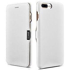 iPhone 7 Plus Leather Case, icarercase Handmade Luxury Collection Magnetic Closure Folio Flip Case Cover (White)