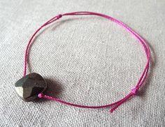 Adjustable Bracelet Pyrite Bracelet Dark Pink by PepperandPomme