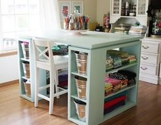 Creative Craft Rooms | House & Home  Love the color of this table and the space in which to work!