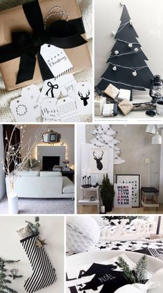 Experimenting on themes? Try out this black and white inspired Christmas decoration. Create custom Christmas trees and ornaments using black and white things that you can find and put together around the house.