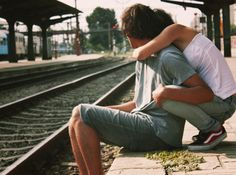 boy, girl, hug, together, train, vans