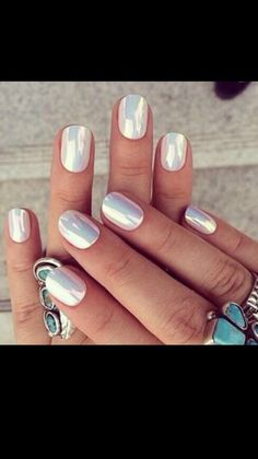 Awesome iridescent white nails