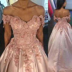 elegant lace appliques blush pink satin prom dress ball gowns with handmade flowers