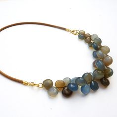 Blue Chalcedony Necklace, 18K Gold necklace, Chalcedony gold necklace, Leather on Etsy, $575.00