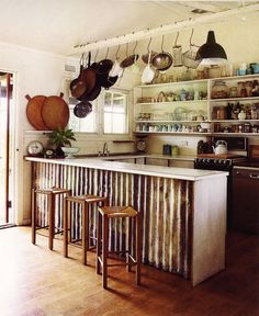 I love this corrugated metal used on the kitchen bar. It adds so much character. Creative Juices Decor: Corrugated Metal for Home Interiors - Heavy Metal Versus Classical Diy Kitchen Island, Kitchen Dining, Kitchen Decor, Kitchen Ideas, Kitchen Cabinets, Kitchen Rustic, Decorating Kitchen, Kitchen Interior, Kitchen Peninsula