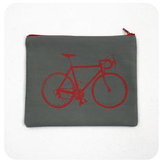 Bike Zipper Bag 7x6 Inch Pouch Red Bicycle Screenprint by Boomerang360 on Etsy