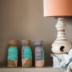 Beautiful Sisal vases made from woven basket and in colourful candy shades.