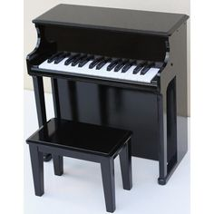 Kids Childrens Toddler Black Toy Wooden Musical Instrument Piano with Stool  sc 1 st  Pinterest & Baby Grand Piano- Wooden Childs Kids Vintage Japan Old Antique ... islam-shia.org