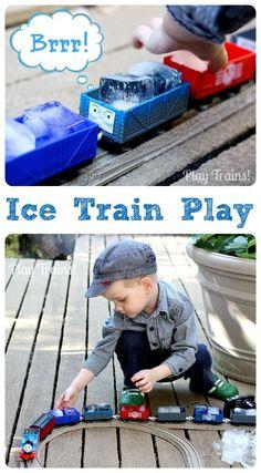 Ice Train Play -- icy sensory fun in any season!