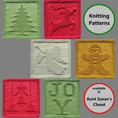 Get these Christmas knit dishcloth patterns at Aunt Susan's Closet. More to choose from at the website. Knitted Washcloth Patterns, Knitted Washcloths, Dishcloth Knitting Patterns, Knit Dishcloth, Knitting Ideas, Reindeer Christmas, Red Nosed Reindeer, Christmas Bells, Christmas Angels