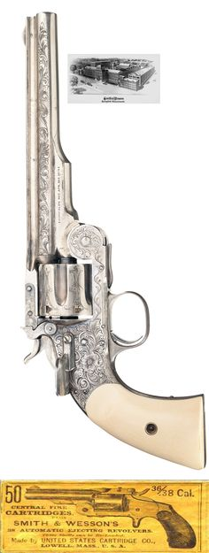 "This is the ""ONLY KNOWN""  Smith & Wesson 1st Model Schofield model, ivory grips single action revolver which was manufactured for the U.S. government in 1875 with a total production of only about 3000."