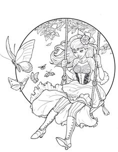 Pretty EGL Fashion Coloring Page| Adult Coloring Page | Elegant Gothic Lolita