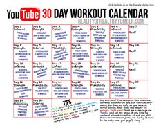 30 day YouTube free workout challenge. The rest of this girl's blog looks awesome too :)