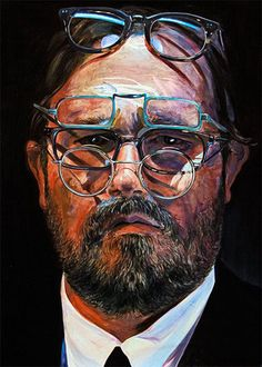 """""""The Man With Glasses"""" - Gael Davrinche, oil on canvas, 2013 {figurative art male head multiple eyeglasses bearded face portrait painting} davrinche.com"""