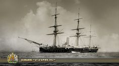 """HMS """"Comus"""" was a corvette (reclassified in 1888 as a third-class cruiser) of the Royal Navy. She was the name ship of her class. Launched in April 1878"""
