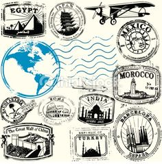 Series of stylized vintage travel related stamps from exotic destinations. Map derived form public domain form the CIA, //www.cia.gov/library/publications/the-world-factbook/docs/refmaps.html AICS2,...
