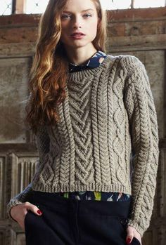 9c250129b4601b Cable Panelled Sweater Digital Version. Free Aran Knitting PatternsJumper  ...