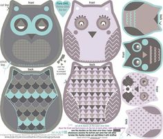 owls family cut and sew template custom fabric by katarina for sale on Spoonflower Owl Templates, Applique Templates, Applique Patterns, Applique Designs, Butterfly Template, Leaf Template, Butterfly Cards, Crown Template, Flower Template